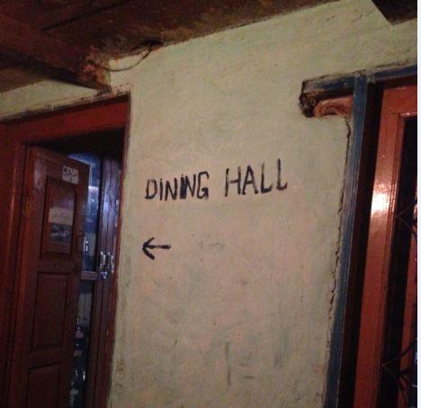 Food - trekking dinner hall sign