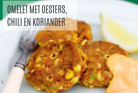 Omelet met oesters, chili en koriander